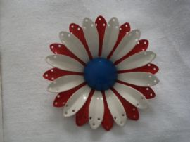 1960's Vintage Flower Brooch - Patriotic in the Red,White & Blue!